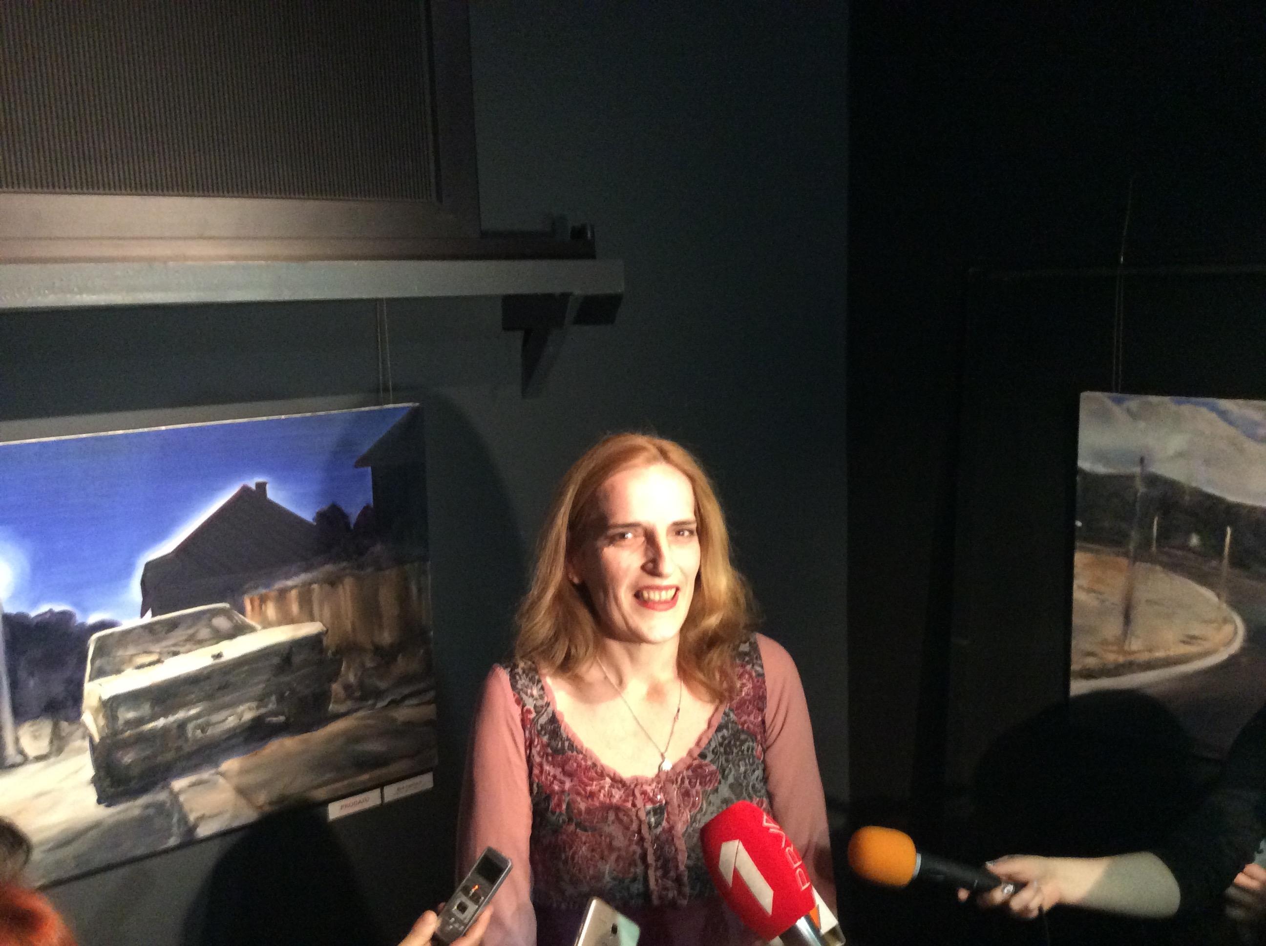 Učitelj i učenica Stefana Lukića, Nataša Žilić, likovna umetnica Foto--Đ.K.